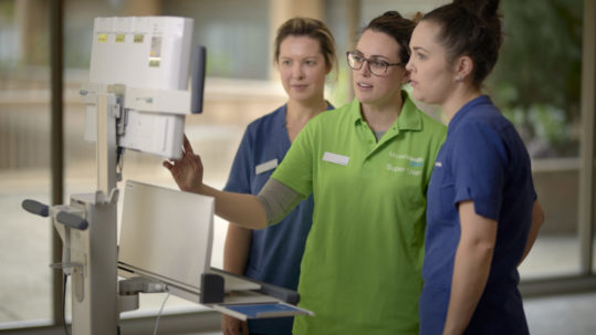 Pictured L-R:Belinda Kerr (Physiotherapist)Sara Bennett (EMR People & Change Lead)Shelley Bowen (Physiotherapist)EMR super user and support crew stock images.Copyright Monash Health. Not for use without prior written permission.